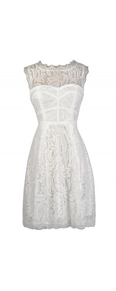Lily Boutique Floral Lace A-Line Dress in White, $45 White Lace Dress, White Lace Bridal Shower Dress, White Lace Rehearsal Dinner Dress, White Lace A-Line Dress, White Lace Summer Dress, Cute White Dress, Little White Dress www.lilyboutique.com