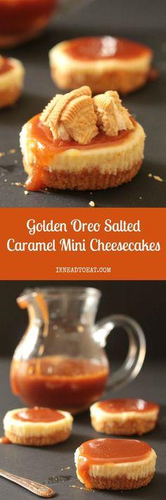 Golden Oreo Salted Caramel Mini Cheesecakes