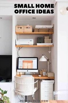 Tiny Home Office, Small Home Offices, Small Space Office, Home Office Setup, Home Office Organization, Home Office Space, Home Office Design, Small Apartments, Office Ideas