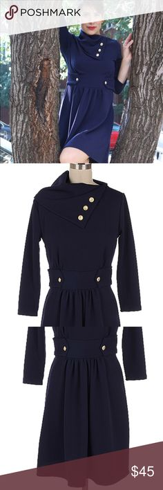 Button Collar Navy Dress 3/4 Sleeve Stretch LAST ONE LEFT. Adorable navy skater/ a-line dress featuring a unique fold collar with buttons. Buttons on the waist make it extra flattering and 3/4 sleeves look fantastic for any occasion. Really cute, stretchy and comfy. Very similar to ModCloth Coach Tour Dress, but a slightly different fabric. Fits like and 8/10 Dresses Mini