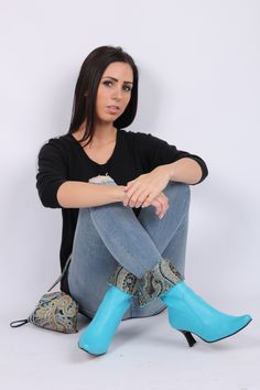 New Turquoise Boots!! 100% Genuine Leather. Can Be Worn With Skinny Jeans Or Even A Nice Dress For A Night Out!