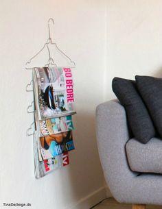 Renseribøjler på væggen som en detalje og anderledes måde at opbevare magasiner på.