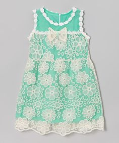 Green Floral Lace Dress - Girls | Daily deals for moms, babies and kids