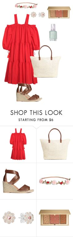 """red summer dress"" by ulusia-1 ❤ liked on Polyvore featuring H&M, Pandora, Estée Lauder and Essie"