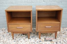 I got these sweet little guys for my MCM bedroom makeover and am in the process of refinishing them to match my Drexel Declaration dresser by Kip Stewart.