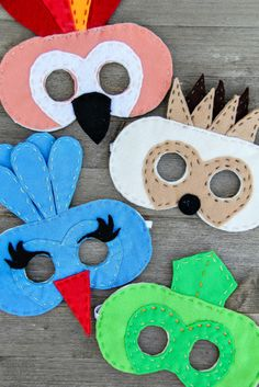 How to make felt porcupine, chameleon, kingfisher and parrot masks from The Wild…