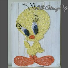 Thanks for looking. Tweety Bird String Art, Made by hand with love in NSW, Australia. Find the rest of my pictures at the following places.  Find my website at www.allstrungup.com.au Find me on Instagram at https://www.instagram.com/all_strung_up/ Find me on Facebook at https://www.facebook.com/All-Strung-Up-915873695199667/?ref=hl