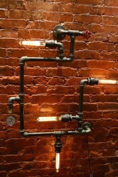 Steampunk 4-Light Industrial Pipe Wall Light