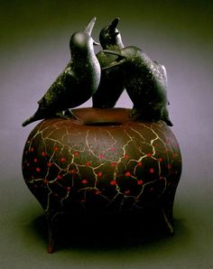 """Glass artist William Morris, from his crow series. """"Vessel With Crows"""", 1998"""
