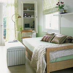 Compact Workspace In Small Bedroom Design Idea Small Home Office In Bedroom 14 Workspace With Library – Home Designs and Pictures