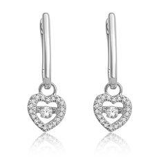Beats of Love: Diamond Heart Dangle Earrings in 10k White Gold