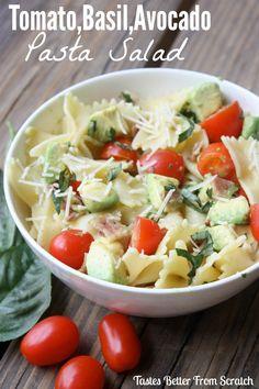Tomato, Basil, Avocado Pasta Salad - the perfect simple, healthy, and fresh pasta salad! Recipe on MyRecipeMagic.com #pasta #salad #basil #tomato #avocado