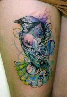 Water color effect bird tattoo, ink splatter, pastel colors, abstract tattoo