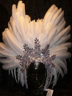 Sparkling Ice in a White Raven Crown - perfect coronet for Winters Queen