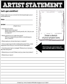 Help your students learn to self-assess and RESPOND to their artwork: Create Art With Me!: Artist Statement Form for Middle School
