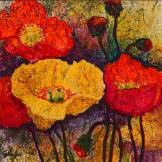 Poppylicious acrylic poppy floral faux batik Carol Nelson Fine Art, painting by artist Carol Nelson