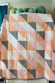 color and pattern - not the typical little girl quilt. love.