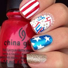We love Independence day - everything red, white and blue themed. What about these 31 Patriotic Nail Ideas for the of July? How many would you rock? Holiday Nail Designs, Holiday Nails, Christmas Nails, Fourth Of July Nails Easy, Patriotic Nails, Nail Time, Jamberry Nails, Blue Nails, Manicures