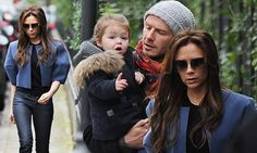 It's in her genes! Victoria Beckham dresses Harper in matching denim skinnies...while doting David keeps her close