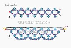Free pattern for beaded necklace Scilla U need: seed beads 11/0 crystal bicones 6 mm - 2/2
