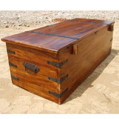 Large Solid Wood Storage Box Trunk Chest Coffee Table w/ Wrought Iron Hardware. $549.99, via Etsy.