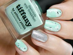Picture Polish Tiffany with white flower nail art and glitter gradient using Essie 'Set in Stones' ~ ring finger Flormar 392 ~ by Better Nail Day