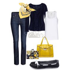 """Navy & Sunshine Yellow"" by amysuzyq on Polyvore"