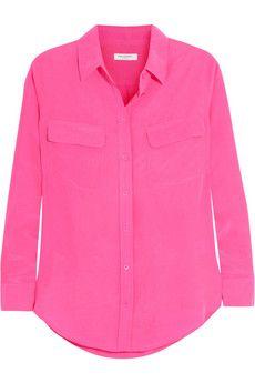 Equipment silk washed shirt, hot pink!