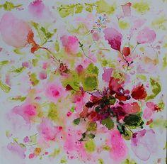redpinklight greenabstract flower paintingORIGINAL by artbyoak1