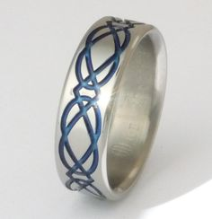 Blue Titanium Celtic Wedding Band or Promise Ring with Unending Knot - ck2 Shown Here 7mm Wide. $239.00, via Etsy.