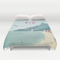 Duvet Covers featuring Vintage Rio Travel Poster by VintageTravelPosters.co