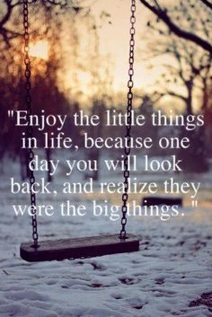 Enjoy the little things in life. One day you will look back and realize that they were actually the big things.