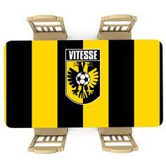 Tafelsticker Vitesse   Maak je tafel persoonlijk met een fraaie sticker. De stickers zijn zowel mat als glanzend verkrijgbaar. Geschikt voor binnen EN buiten! #tafel #sticker #tafelsticker #uniek #persoonlijk #interieur #huisdecoratie #diy #persoonlijk #vitesse #arnhem #club #supporter #voetbal #sport #geel #zwart #embleem #logo Club, Stickers, Sport, Logo, Prints, Deporte, Logos, Sports, Decals