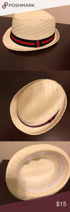 Classic Straw Fedora Great shape, no signs of wear. Beautiful herringbone weave. Blue and red stripe ribbon. Accessories Hats