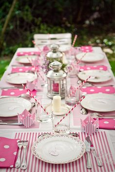 Isnt This A Pretty Table Setting For Party Or Tea Pink Of Stripes And Polka Dots