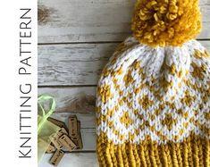Knitting Pattern Fair Isle Beanie Bulky Knit Pattern Knit hat for women slouchy Fair Isle Diamonds Knitting Hat Pattern Fair Isle Knitting Patterns, Chunky Knitting Patterns, Knitting Designs, Knit Patterns, Knitting Projects, Knitting Stitches, Sock Knitting, Knitting Tutorials, Knitting Machine