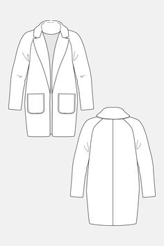 Yona Wrap Coat Loose fitting and lined boyfriend style coat Raglan cut Mid-thigh length V-neckline with peaked notch lapels Lined patch pockets at front Belt closure (optional button closure included) Choose a thick or medium weight wool or wool blend