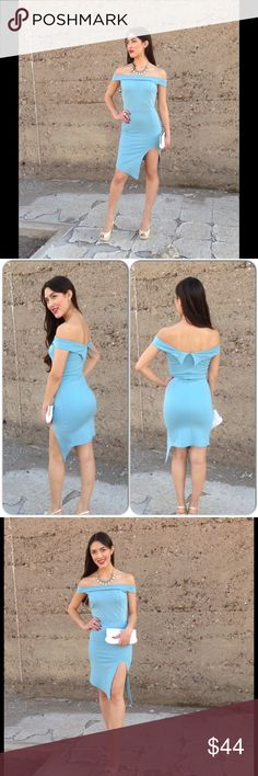 Off Shoulder Large Dress-5 ⭐️Large New Listing: 2/19/17-Gorgeous Powder Blue Color Dress inspired by the Inauguration Dress worn by Melania Trump. No political view just love the fashion. Small sold out already sorry. 68% Rayon, 27% Nylon, 5% Spandex (This closet does not trade) Boutique Dresses Midi