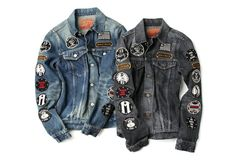 Hysteric Glamour jean jacket with patch details Denim Jacket Patches, Denim Jacket Men, Denim Jeans, Denim Jackets, Patched Denim, Jean Jackets, Punk Jackets, Battle Jacket, Mode Style