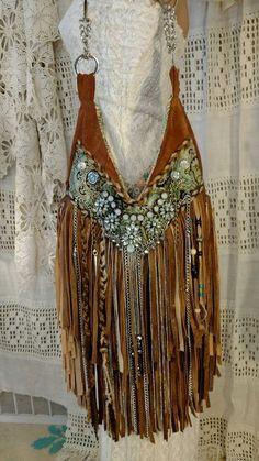 Custom for Carla Suede Fringe Shoulder Bag Hippie Gypsy Boho Brown Purse