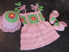 Handmade Pink Baby Crochet DressBaby Booties and by MagicalStrings, $57.00