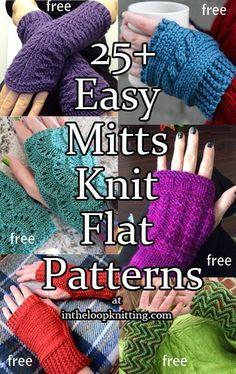 Knitting Patterns for Easy Mitts Knit Flat and Seamed. Most patterns are free