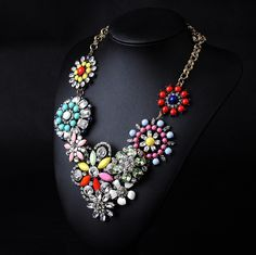 WHOLESALE FASHION JEWELRY ACCESSORIES NEW DESIGN LADY GORGEOUS MULTI CRYSTAL BIB STATEMENT LUXURY NECKLACE COLLAR HOT