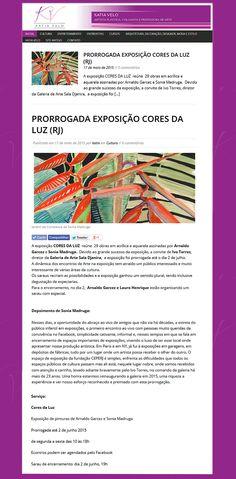 CORES DA LUZ Prorrogada até 2 de junho com Arnaldo Garcez e Sonia Madruga Espaço Cultural da Fundação CEPERJ, Galeria de Arte - Sala Djanira, Botafogo. RJ