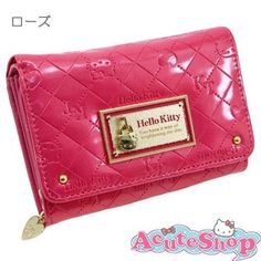 Hello-Kitty-Elegant-Wallet-Quilt-Embroidery-PVC-Leather-Pink-Japan-Sanrio