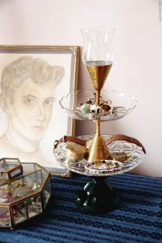 DIY Jewelry Stand Of Glass And Brass Tableware | Shelterness