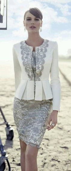 Chic look | Grey and white lace dress with peplum lace detailed white blazer