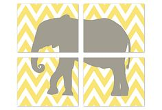 4 Print Safari Animal, Yellow on OneKingsLane.com This is cute, could do this in a lot if different ways.