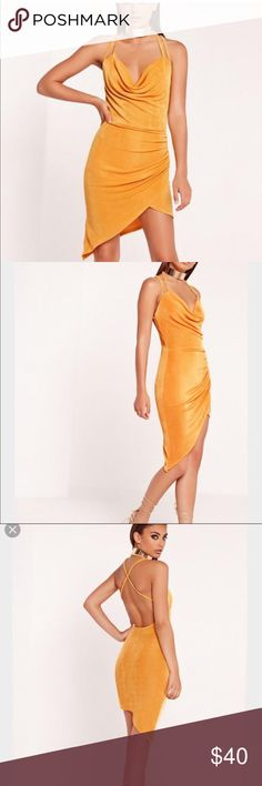 NWOT Missguided Strappy Dress NWOT Missguided Mustard Golden Yellow Form Fitting Dress Dresses Backless
