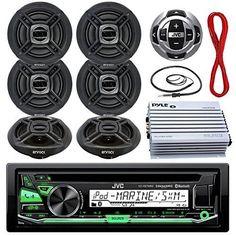 Marine Audio Bundle Package - JVC KDR97MBS Stereo Receiver Bundle Kit With Remote Control + 6 6.5' Speaker + Pyle 4 Ch Waterproof Amplifier + Wire Antenna + 50ft Speaker Wire (Black)